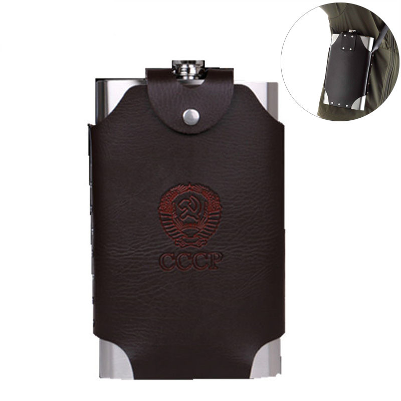 Hot sale Oversize Large Capacity 8/18/32/48/64oz 18/8  Stainless steel Hip Flask Whisky Moscow cccp Flagon With Pu Leather Bag