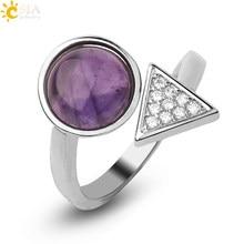 CSJA kamienie naturalne otwarte pierścienie uzdrawiający kryształ trójkąt Pave inkrustowane cyrkon regulowany palec serdeczny dla kobiet moda biżuteria G550