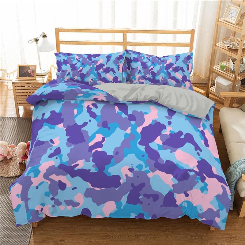 Roxo camuflagem jogo de cama 3d 2/3pc luxo casa têxteis consolador capa edredão e fronha