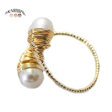 YKNRBPH Womens Natural pearl Ring Adjustable light luxury Versatile Temperament 14k HandWound Jewelry Ring
