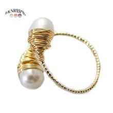 YKNRBPH damski naturalny pierścionek z perłą regulowane światło luksusowy wszechstronny Temperament 14k HandWound Jewelry Ring