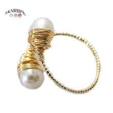 YKNRBPH kadın doğal inci yüzük ayarlanabilir ışık lüks çok yönlü mizaç 14k HandWound takı yüzük