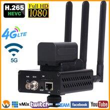 3g 4G LTE SD HD 3g SDI к IP кодировщик H.265 HD-SDI 3G-SDI к RTMP RTMPS Передатчик датчик для прямой передачи