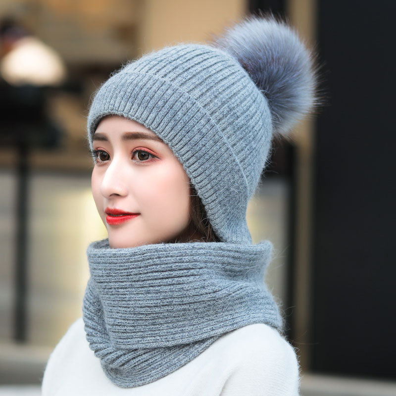 Blue Color Women Winter Hat Scarf Gloves Set For Girls  Kitted Thicken Warm Plus Velvet Hat Girl Fashion Soft Solid Female Cap