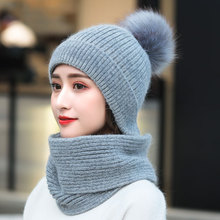 Blue Color Women Winter hat Scarf Gloves set for Girls  Kitted Thicken Warm Plus velvet Hat Girl Fashion Soft Solid Female cap