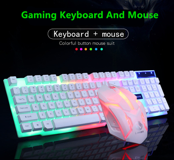 2020 Combo PC Gamer LED Gaming Keyboard And Mouse Set Wired Keyboard Gamer Keyboard Illuminated Gaming Keyboard Set For Laptop 1