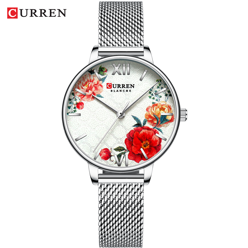 CURREN Beautiful Flower Design Watches Women Fashion Casual Leather Wristwatch Ladies Watch Female Clock Women's Quartz Watch 10