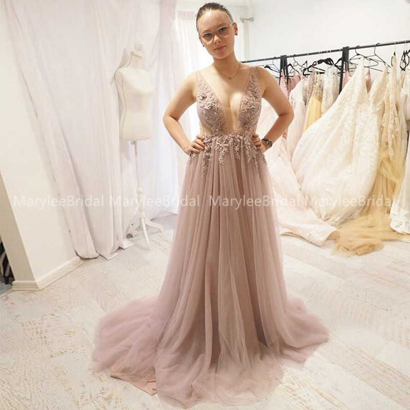 Sexy Tulle Long Evening Dress Dusty Pink 2020 New Arrival Backless Sweep Train Appliques Special Occasion Prom Gowns Custom Made
