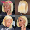 613 Blonde Bob Lace Front Human Hair Wigs 4x4 Lace Closure Wig Blonde 613 Brazilian Straight Bob Lace Front Wigs 13x1 T Part Wig