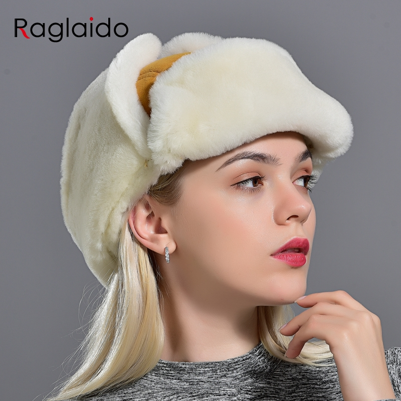 Women's Bomber Hats With Earflaps Russian Ushanka Aviation Winter Warm Female Lambwool Fur Hat Fashionable Sheepskin Trapper Hat