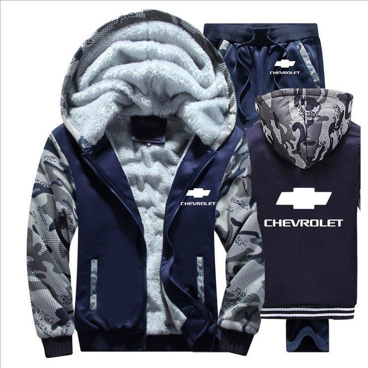 Hoodies Men Chevrolet Car Logo Mens Hoodies Suit Winter Thicken Warm Fleece Cotton Zipper Tracksuit Mens Jacket+Pants 2Pcs Sets