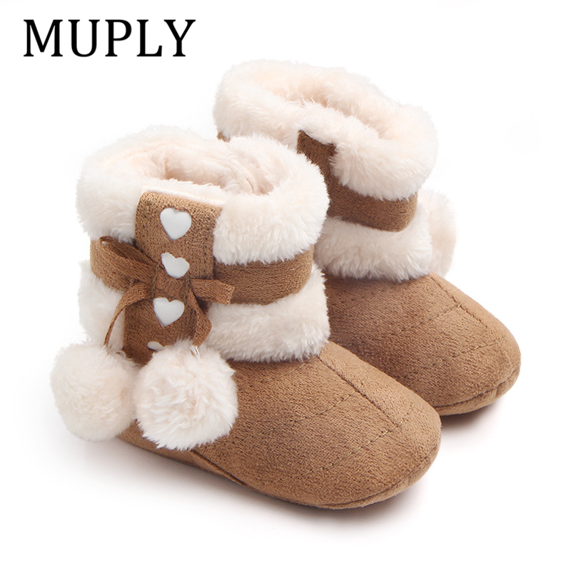 Winter Snow Boots For Newborn Baby Girls Booties Keep Warm Plush Inside Anti-slip Baby Infant Toddler Cute Soft Bottom Shoes