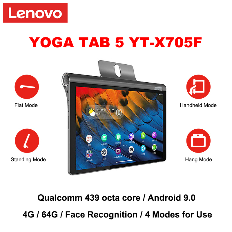 Lenovo YOGA TAB 5 X705F 10.1 Inch Qualcomm 439 Octa Core Android 9.0 4G RAM 64G RAM Face Recognition Wifi Version Tablet PC