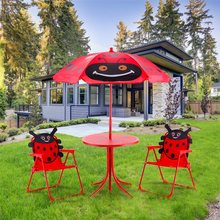 Kids Patio Folding Table Chairs Set Beetle Umbrella High Quality Outdoor Umbrella Beetle pattern Cover Sombrillas Para Jardin(China)