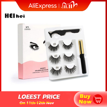 Dropshiping 3pair 3d eyelashes natural false eyelashes Eyeliner magnetic eyelashes Tweezer Set cilios magnetico custom your logo