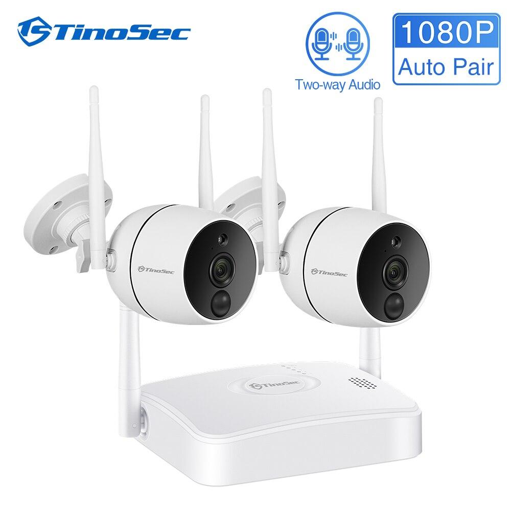 TinoSec CCTV Security Camera System 1080P WiFi Wireless IR-CUT IP Camera PIR NVR Kit Outdoor Waterproof  Video Surveillance Kit
