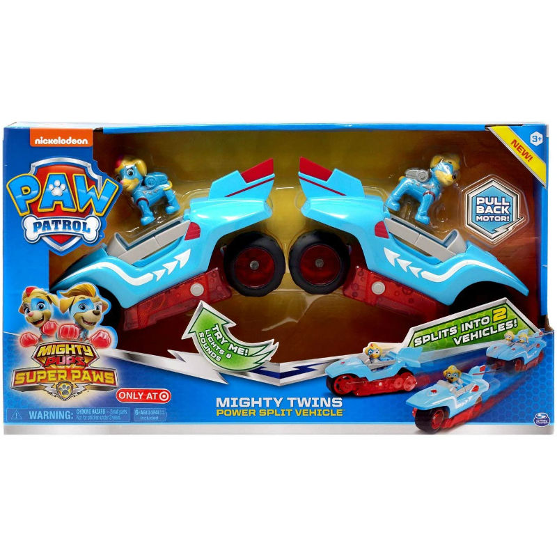 2020 New Original Paw Patrol Mighty Pups Super Paws Mighty Twins Power Split Vehicle Children Toy Birthday Gift With Light