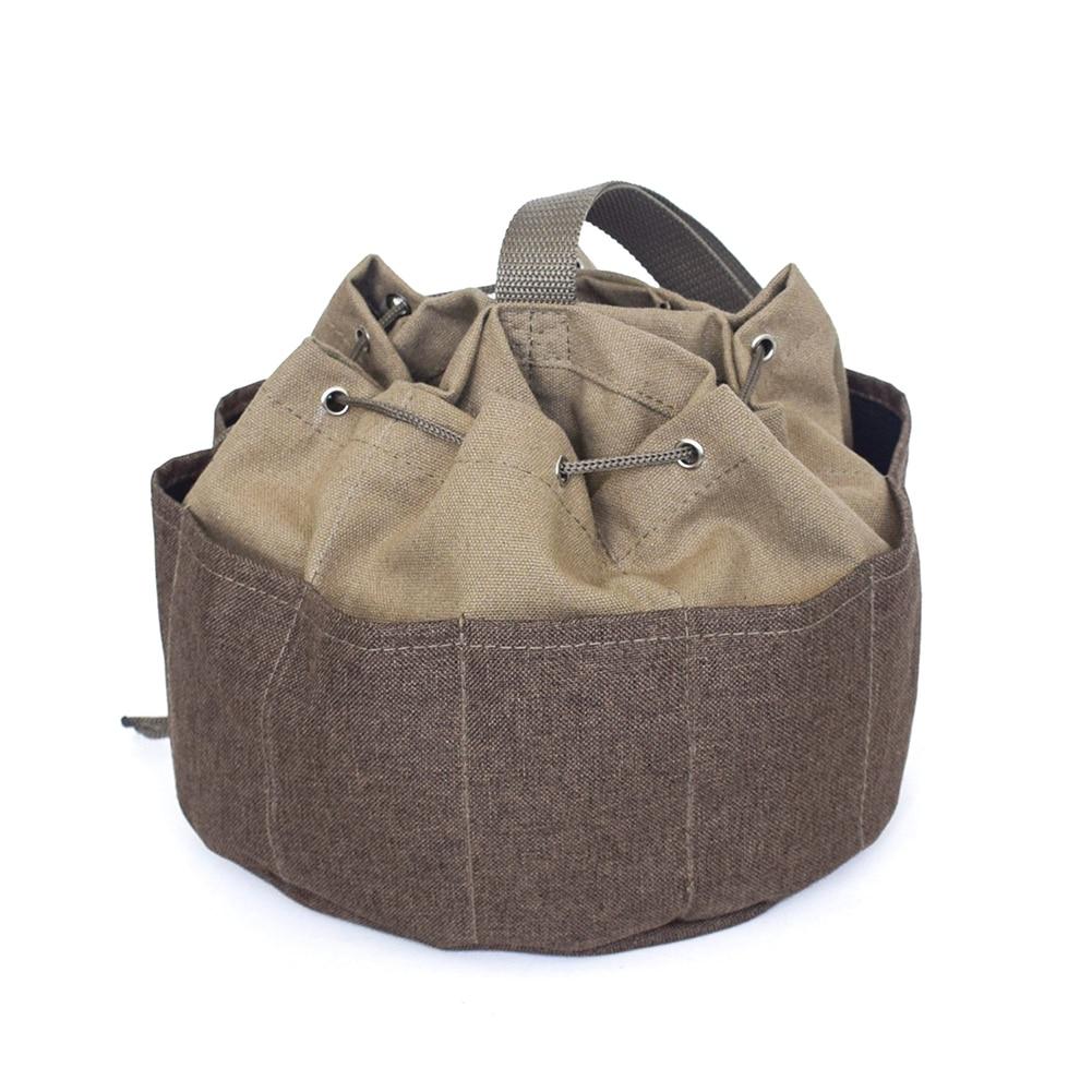 Multi Pocket Portable Canvas Outdoor Khaki Storage Garden Plumber Holder Repair Umbrella Like Drawstring Tool Bag Multi-pocket