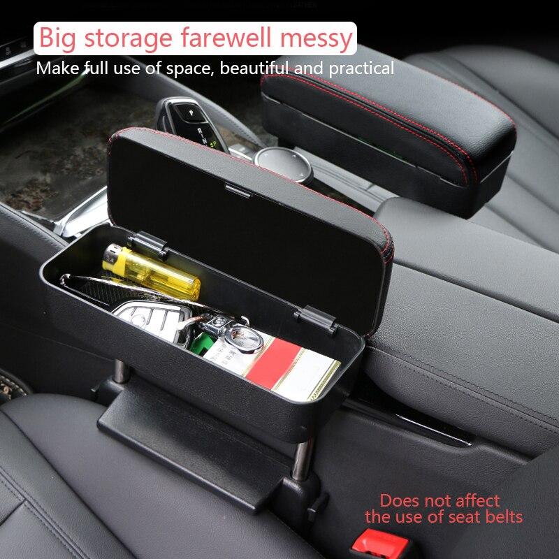 Caja de almacenamiento con reposabrazos para el centro del coche, caja de cuero con pasamanos ajustable hacia arriba y hacia abajo, cojín de soporte de codo central cómodo Universal