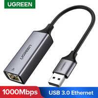 Ugreen usb ethernet adaptador usb 3.0 2.0 placa de rede para rj45 lan para windows 10 xiao mi caixa 3 nintend switch ethernet usb