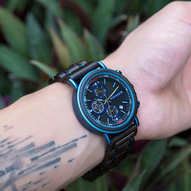 reloj hombre BOBO BIRD New Wooden Watch Men Top Brand Luxury Chronograph Military Quartz Watches for Man Dropshipping Customized 5