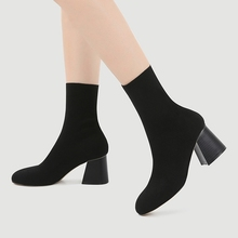 Elegant Sock Boots Women Sexy High Heels Fashion Ankle Slip On Black 2019 Autumn