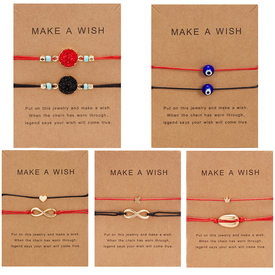 Combination Bracelet With Card New Red Black Rope Chain Love Resin Blue Eye Pendant Bracelet Couple Friend Adjustable Bracelet image
