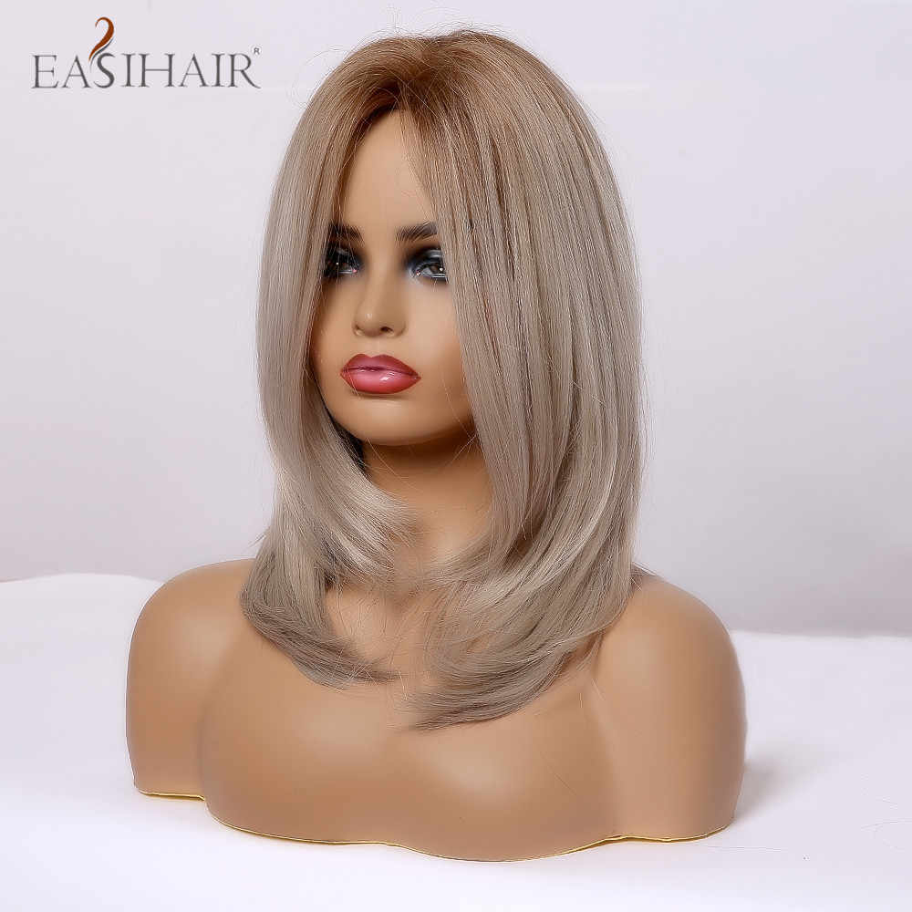 EASIHAIR Ombre Light Blonde Medium Panjang Lurus Alami Wig Rambut Bagian Tengah Tahan Panas Sintetis Wig Cosplay untuk Wanita