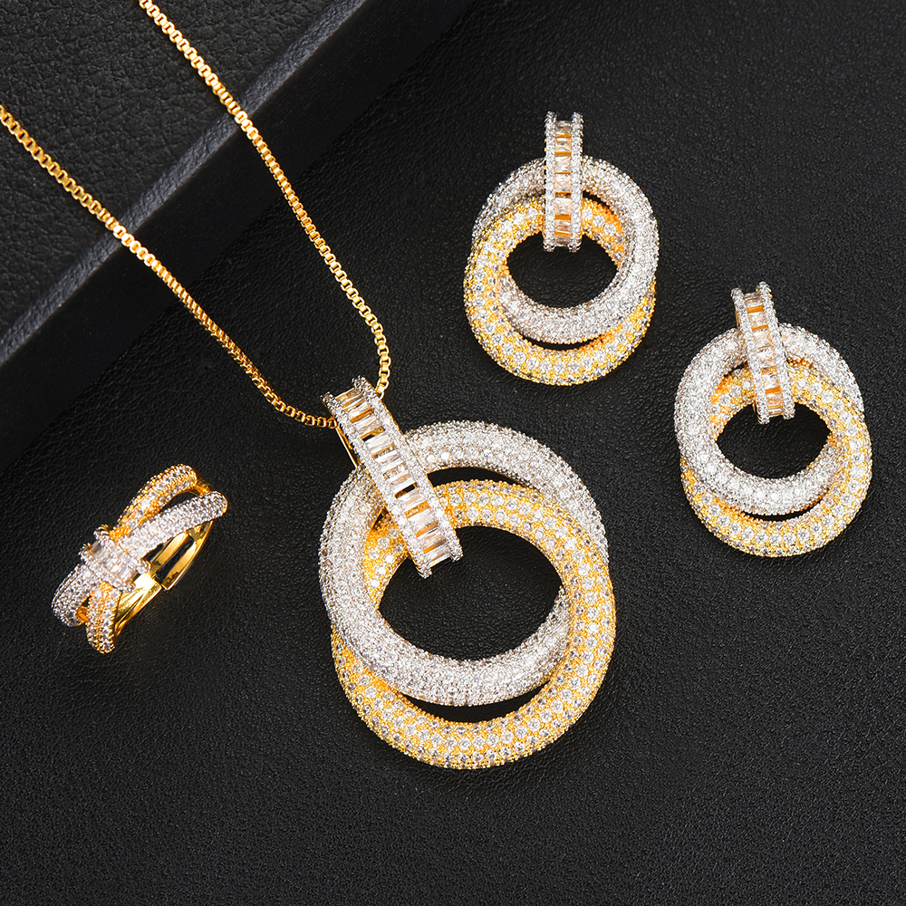 Exclusive Jewelry sets Round Circle Necklace Earrings Ring Cubic Zirconia Indian Wedding Resizable Ring Jewelry Sets For Women
