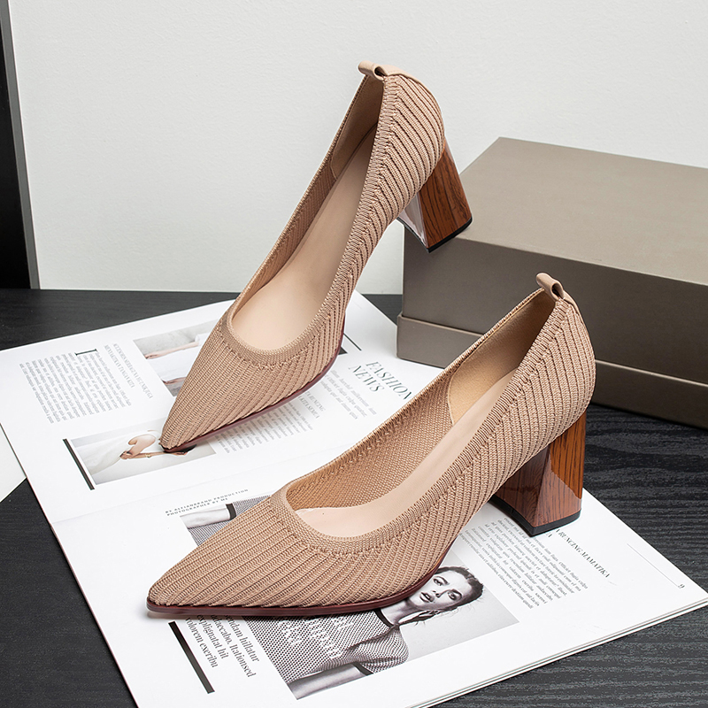 2020 new mesh breathable high heels high quality fabric shallow Pointed Toe Party summer high heel womens shoes Zapatillas Mujer