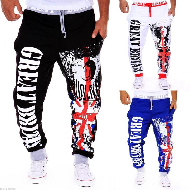 ZOGAA Men Harem Pants Letter Printed Hip Hop Baggy Trousers Drawstring Elastic Waist Track Pants Men Casual Joggers Sweatpants