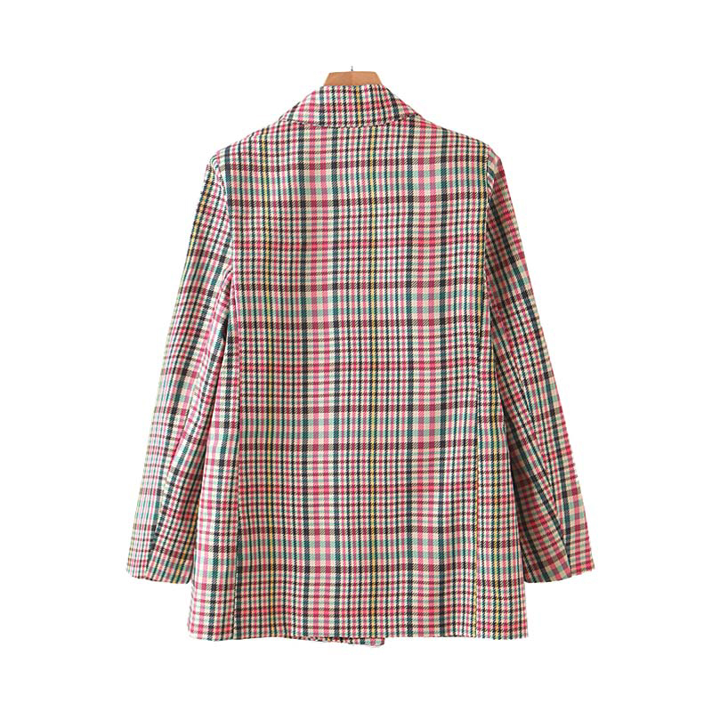 Vintage Women Plaid Blazers Suit 2019 Chic Pockets Double Breasted Long Sleeve Office Ladies Coat Female Casual Retro Outerwear