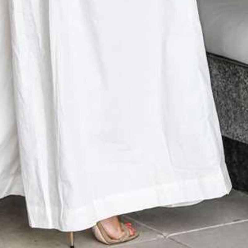 Seksowny kombinezon damski jedno ramię z długim rękawem Zipper Playsuit pajacyki prosta szeroka nogawka kombinezony kobiece Party białe spodnie