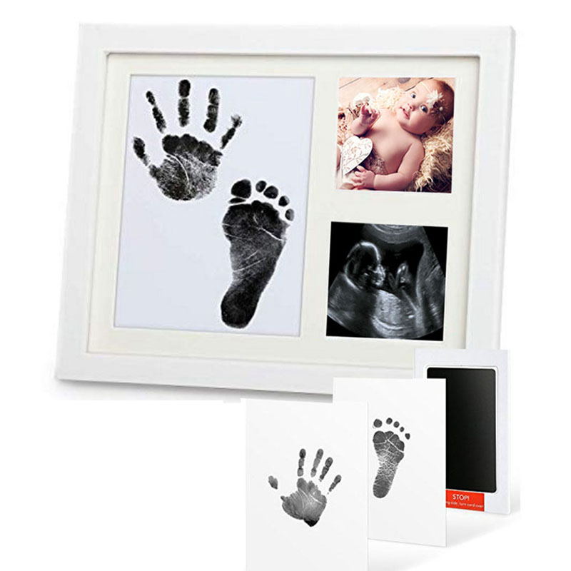 Baby Hand&Foot Print Hands Feet Baby Photo Frame  DIY Handprint With Cover Fingerprint Mud Set Baby Growth Memorial Gift