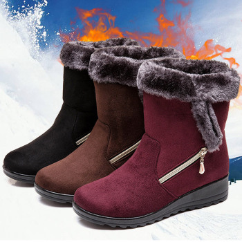 Women Boots 2019 New Snow Boots For Winter Shoes Woman Wedges Heels Botas Mujer Plus Size 43 Ankle Boots For Women Booties