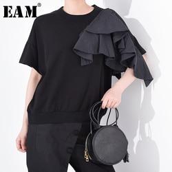 Женская футболка с оборками [EAM], черная футболка большого размера с круглым вырезом и коротким рукавом, весна-лето 2020 1U13501M