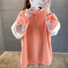 Lantern Sleeve Women Pullover Sweatshirt Autumn Winter Soft Loose Orange Hoodies Sweatshirts 2019 Casual Ladies Coat Tops M-XXL fuzzy patches lantern sleeve loose sweatshirt