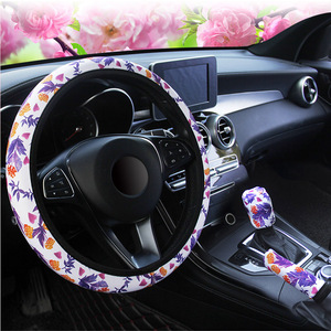 YOSOLO Breathable Car Interior Accessories Handbrak Cover Car Steering Covers Flower Print Suitable for 37-38cm Gearshift Cover