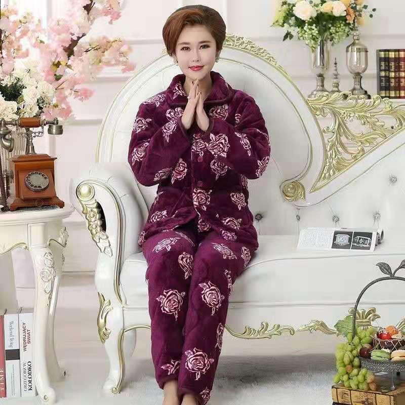 2 Piece Winter Women Pajamas set Sweet Thick Flannel Long Homewear Sleep Lounge Velvet Pajama Female Pyjama 32