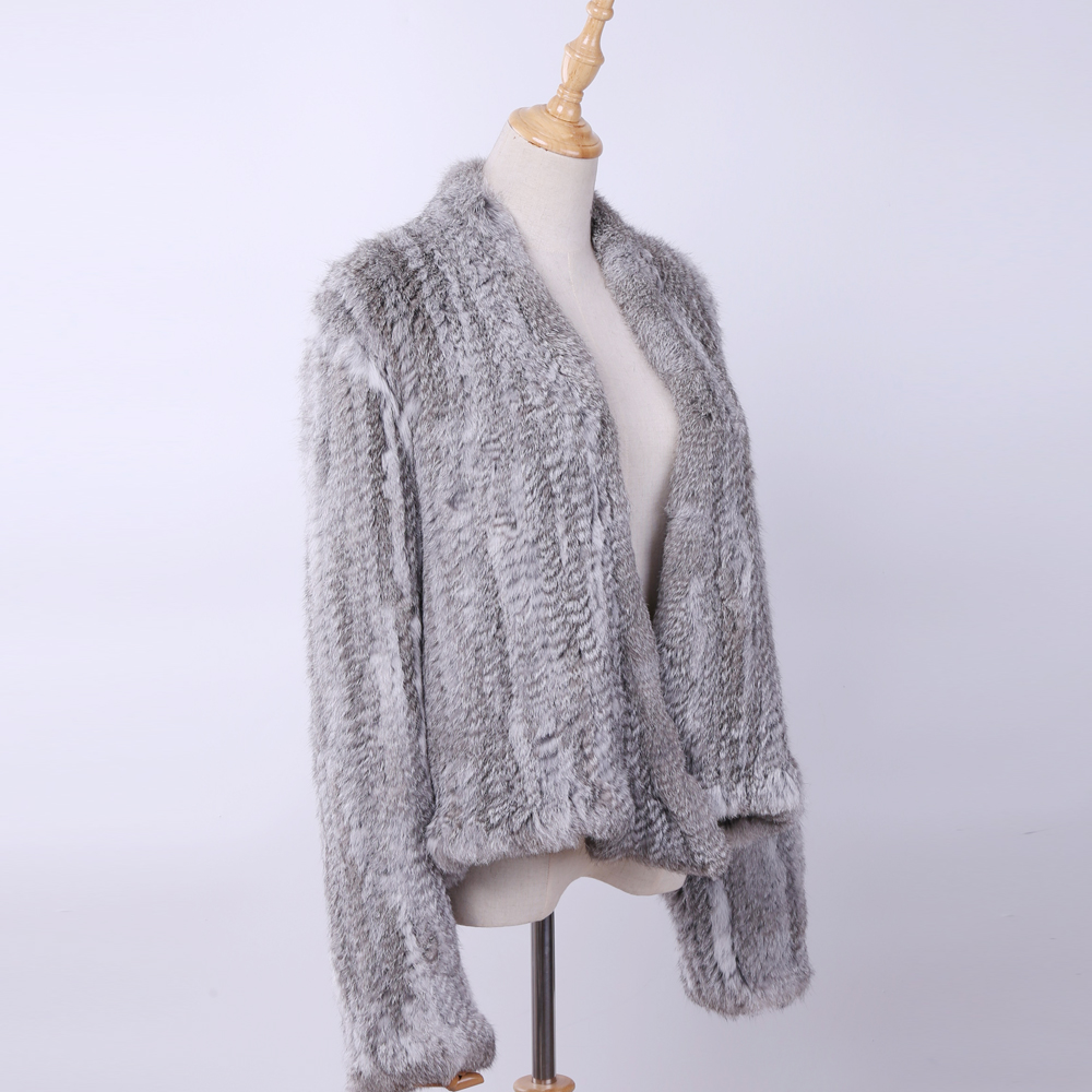2019 100% Real Knit Rabbit Fur Cardigan Coat Jacket Natural Hand-made Irregular Collar Garment Rabbit Fur Knitted Outerwear Vest