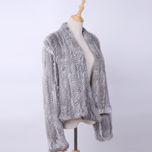 2020 100% Real Knit Rabbit Fur Cardigan Coat Jacket Natural Hand made Irregular Collar Garment Rabbit Fur Knitted Outerwear Vest