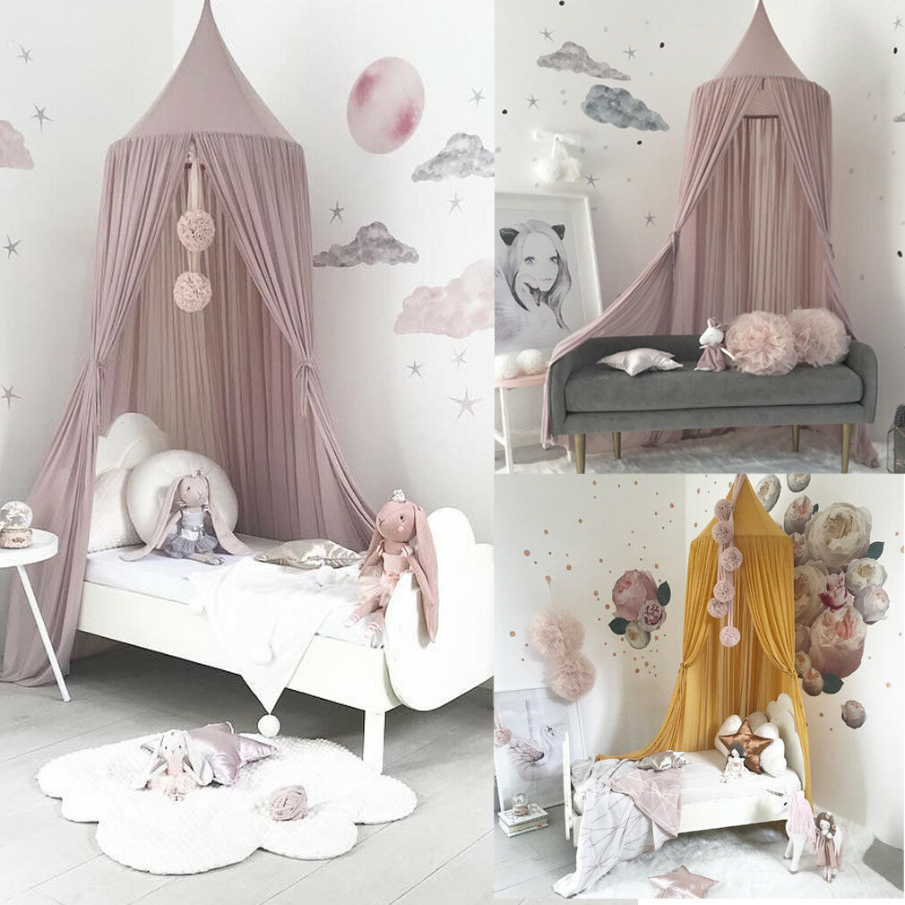 Kids Baby Bed Canopy Bedcover Mosquito Net Chiffon Bed Hung Dome Lace Curtain Bedding Tent Netting Double Fly Insect Protection