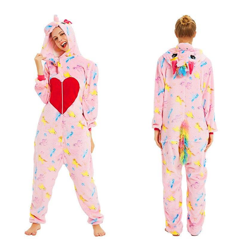 Image 4 - Women Kigurumi Unicorn Pajamas Sets Flannel Cute Animal Pajamas Kids Women Winter Stitch Tiger Nightie Pyjama Sleepwear Homewear-in Pajama Sets from Underwear & Sleepwears