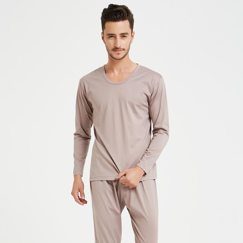 Silk Cotton Pajamas Suit Autumn Clothes Bottom shirt+Trousers Round Collar  Thin Men's Underwear Comfortable Pajamas
