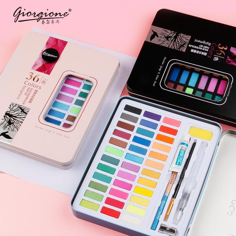 36/48 color Pigments Solid Watercolor Paint  Art Supplies  for School Artist Kid Palette for Watercolor Portable Brush Pen
