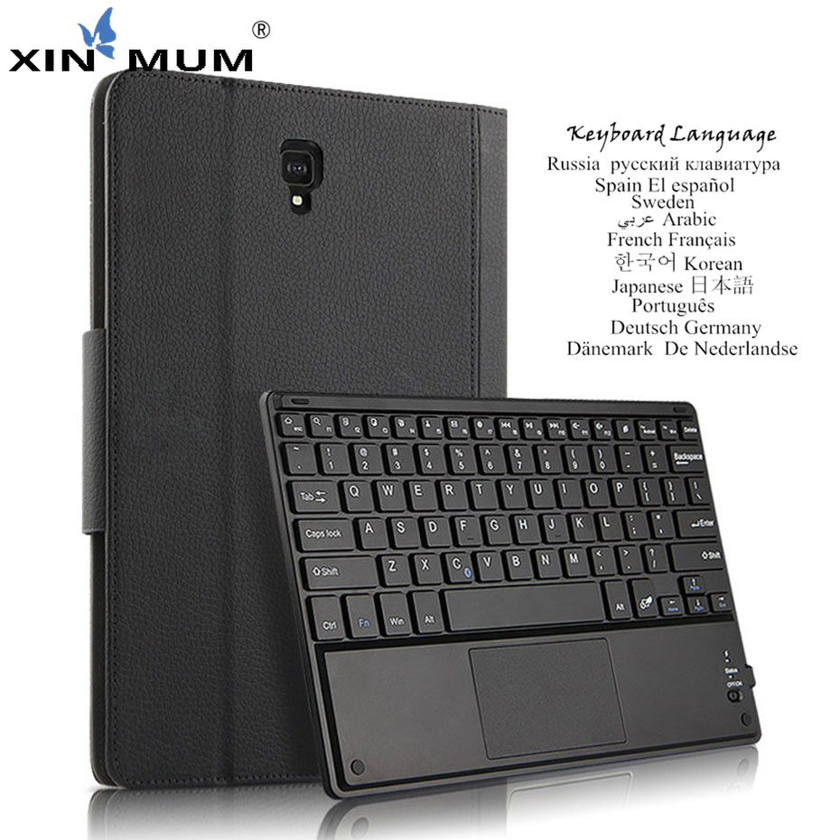 Case For Samsung Galaxy <font><b>Tab</b></font> <font><b>S4</b></font> 10.5 SM-T830 T835 T837 Bluetooth <font><b>Keyboard</b></font> Protective Cover PU Leather Tablet PC Case Multilingual image