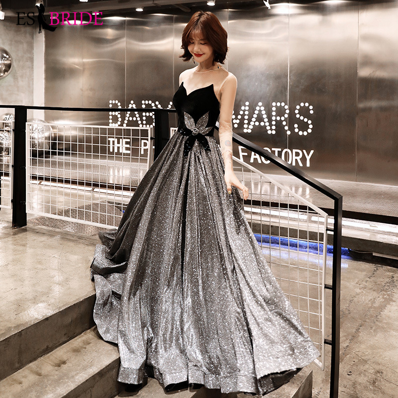 Sexy bretelles robe de soirée longue noir ciel étoilé Occasion spéciale robes dos nu robes de soirée 2019 robe noire ES2503