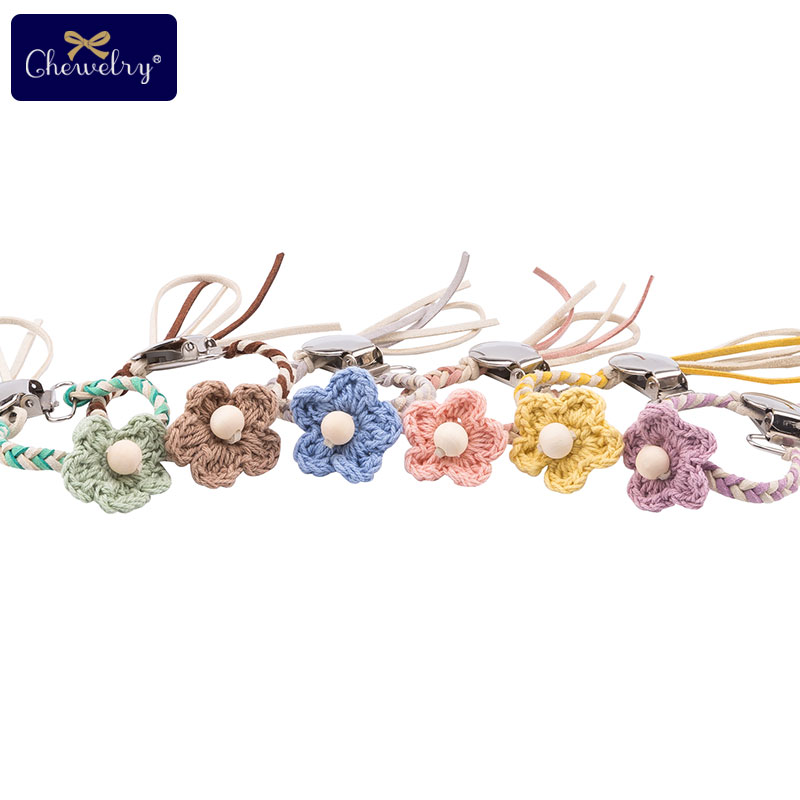 CHELWRY 1Pc Baby Pacifier Clips Handmade Weaving Chain Crochet Flowers Infant Soother Nipple Clip Dummy Holder Teething Products