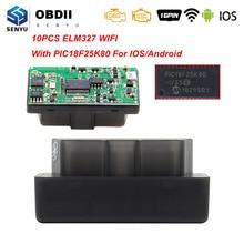 10 Pcs Elm 327 V1.5 PIC18F25K80 OBD2 Wifi Scanner ELM327 V1.5 Wifi Voor Android/Ios Obd OBD2 Auto Diagnostische auto Tool Code Reader