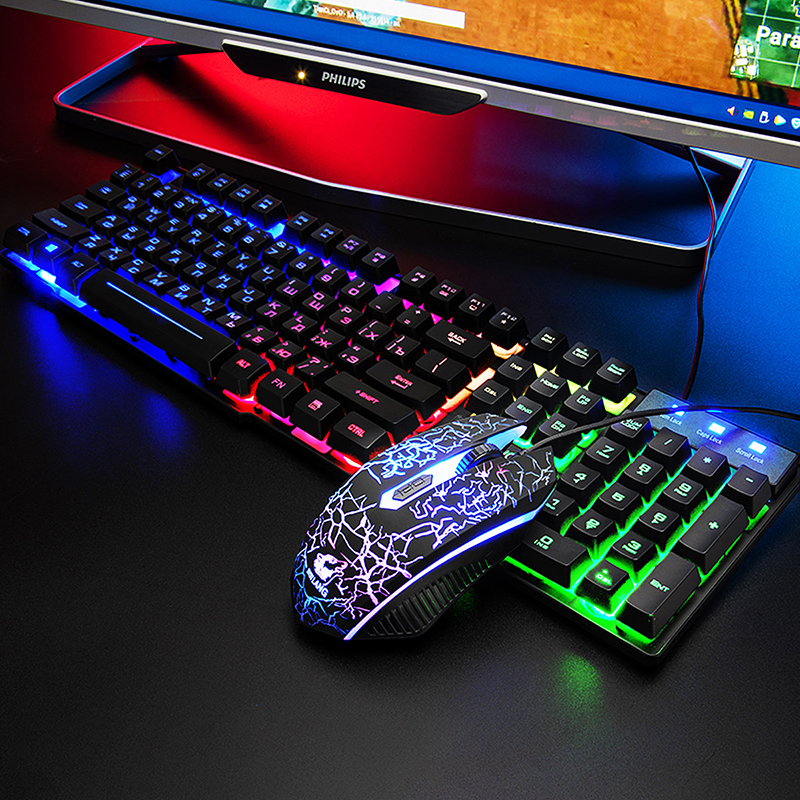 Купить клавиатура + мышь коврик для мыши usb проводная русская клавиатура